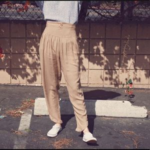 Vintage 80s brown high waist crop ankle trousers